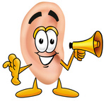 Clip Art Graphic of a Human Ear Cartoon Character