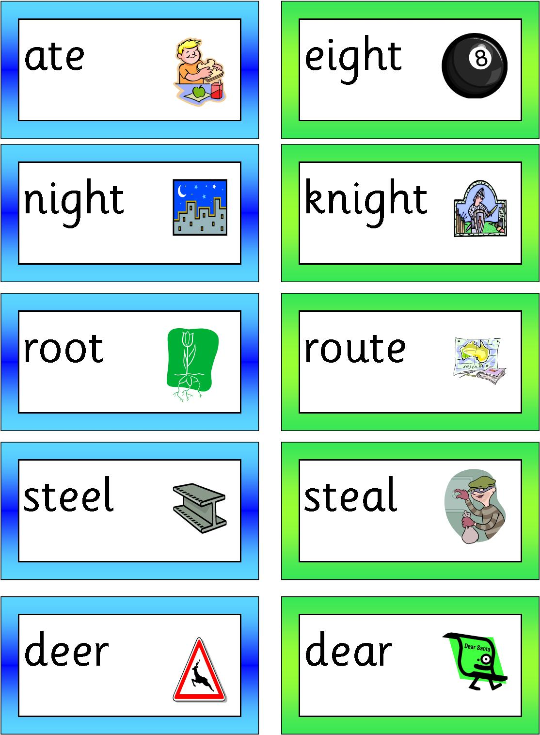 Worksheet Homophone Matching Game language which is so different from as the voiceless