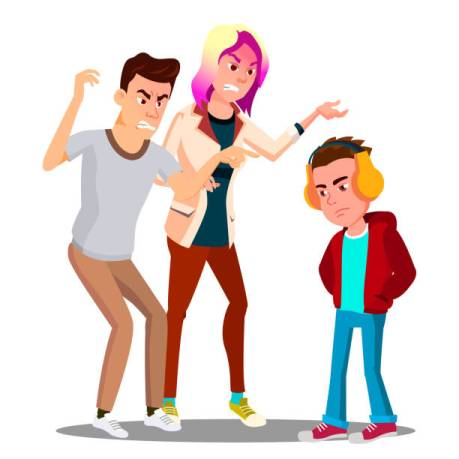Conflict With Parents, Father And Mother Scolding Teenager Vector. Illustration